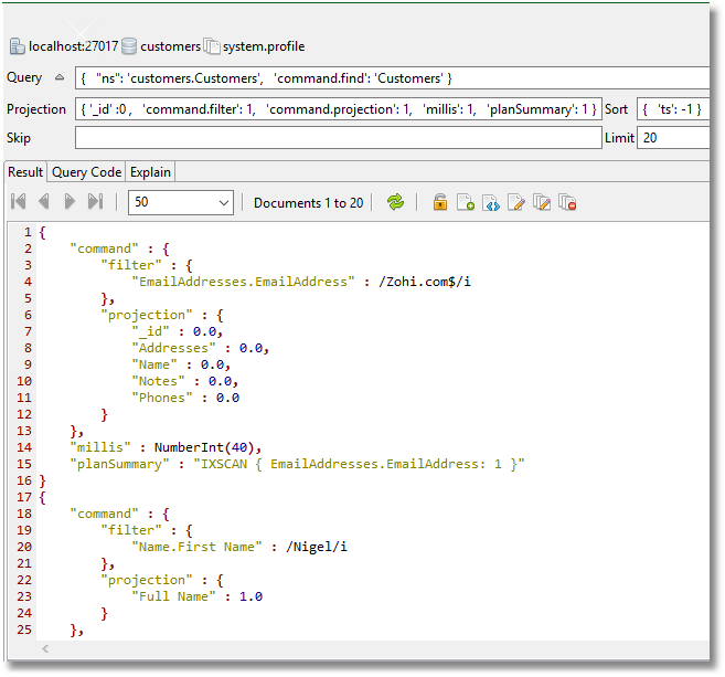 Viewing the 20 executed queries in Studio 3T