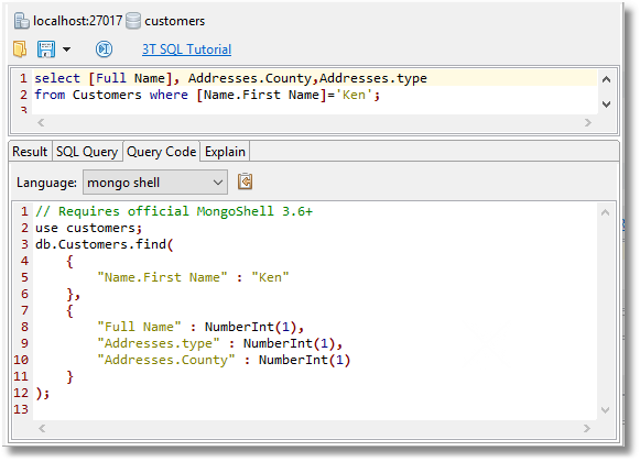 Studio 3T's SQL Query feature lets you use SQL to build MongoDB find queries