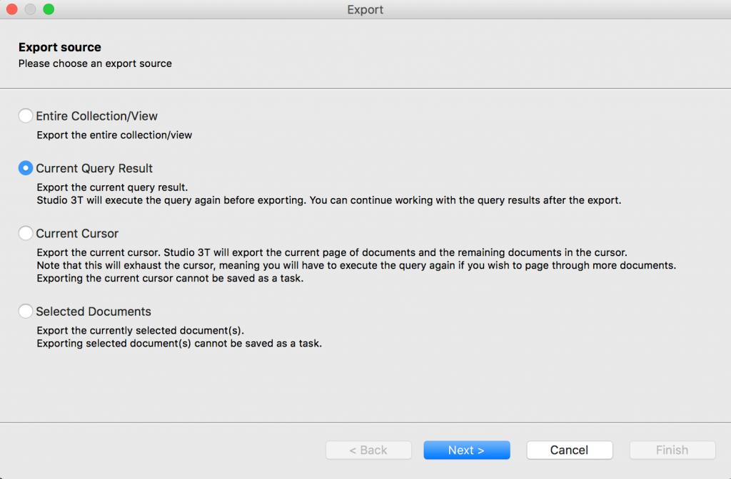 Export options in Studio 3T