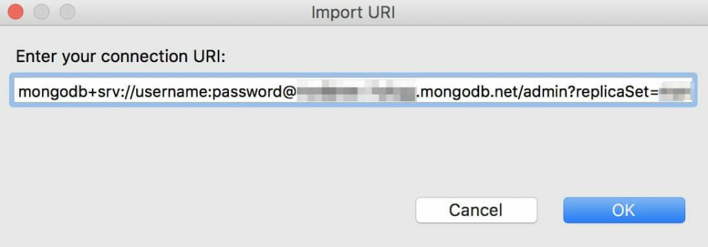 Paste the MongoDB connection string