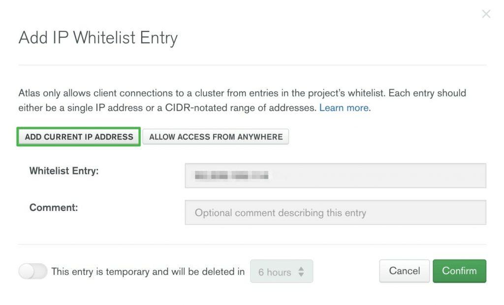 Add current IP address in MongoDB Atlas