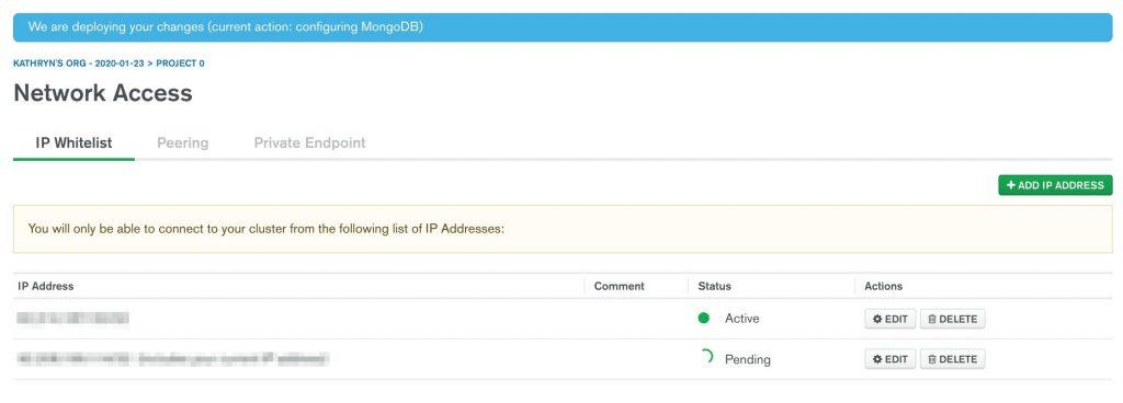 MongoDB Atlas deploying changes