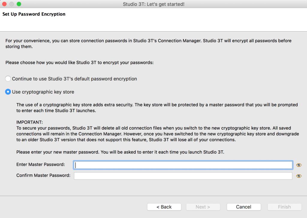 Encrypt MongoDB passwords via cryptographic key store