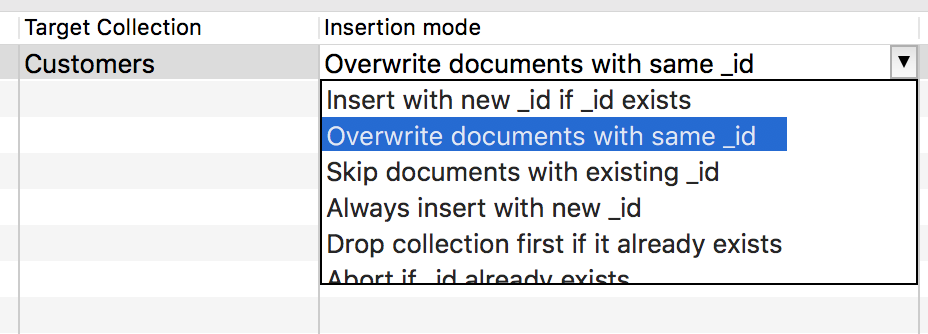 Insertion mode in JSON import