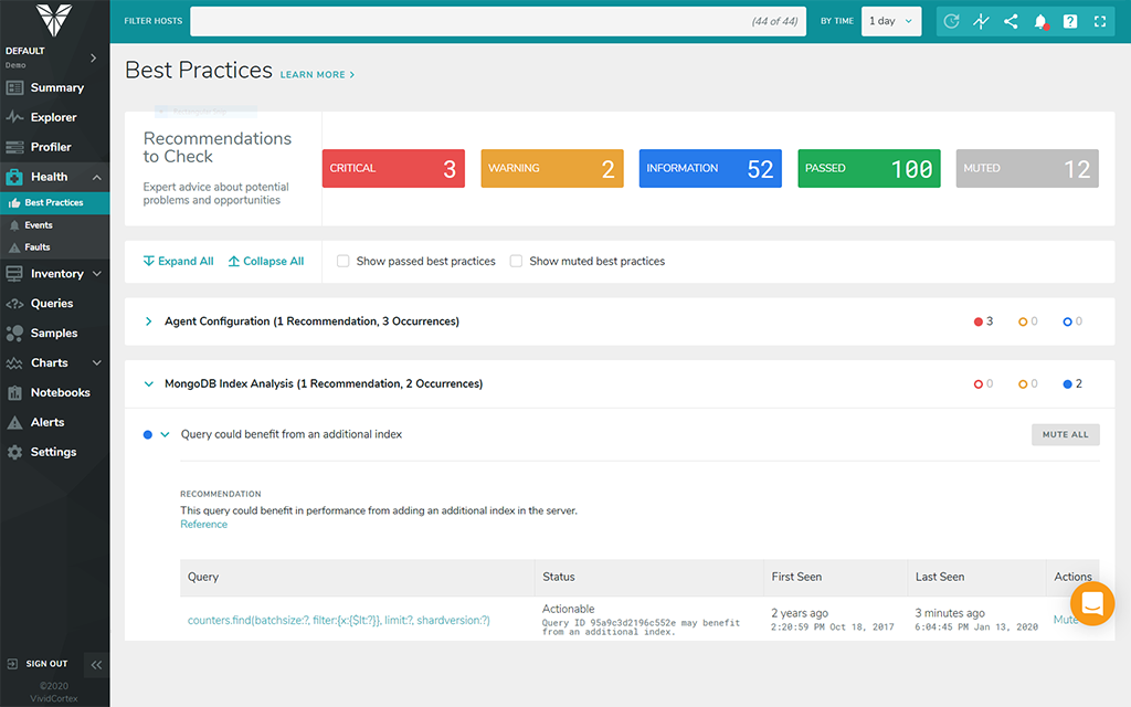 Find best practices on performance tuning in Solarwinds (formerly VividCortex)
