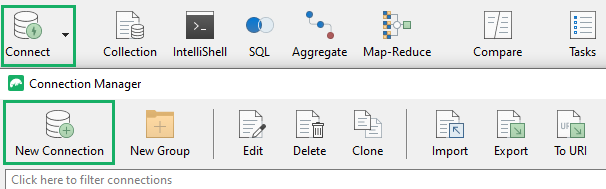 Creating a new connection via the toolbar