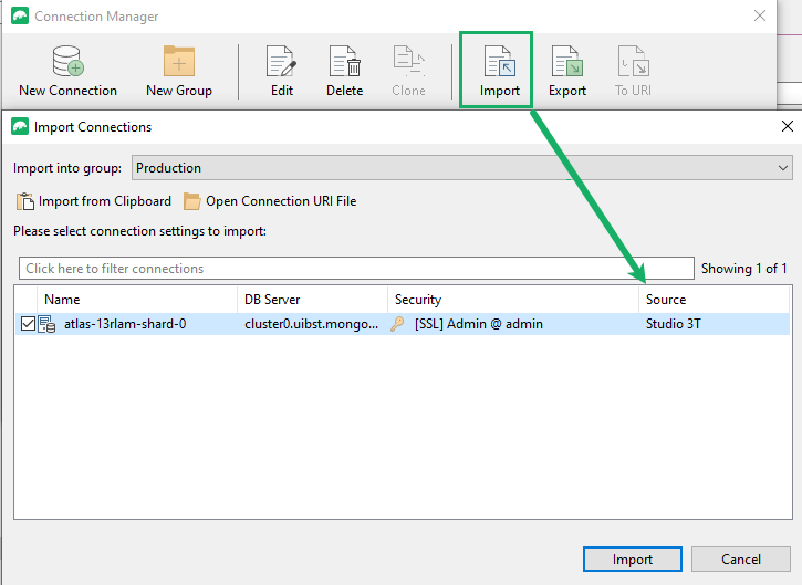 Import connection details from other clients
