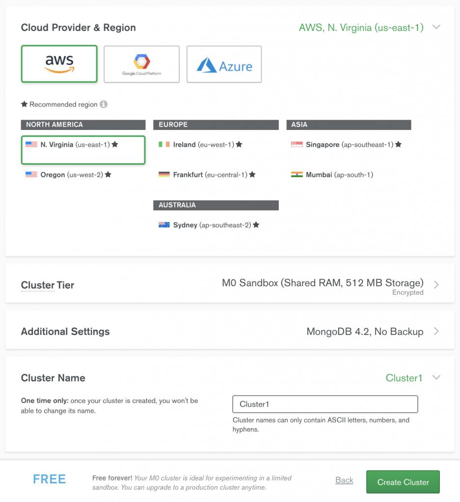 Choose the MongoDB Atlas cluster