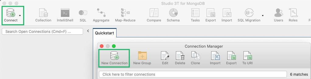 Connection Manager toolbar