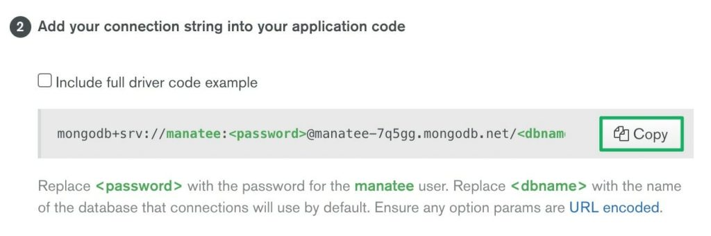 Copy the MongoDB Atlas connection string