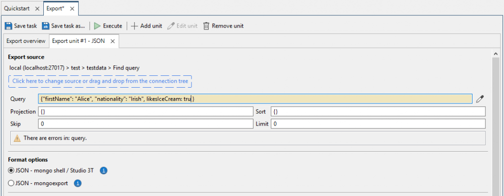 Edit find query in the export unit tab