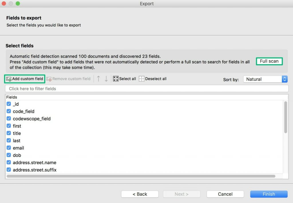 Choose which fields to export to CSV, or add custom fields