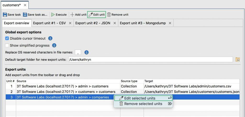Edit export units
