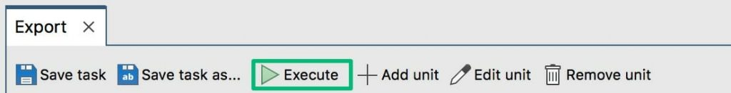 Click on Execute to run the export
