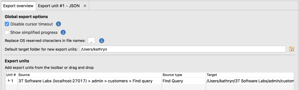 Configure global options in the Export Overview tab