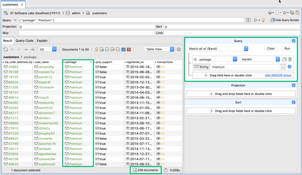 Export current query results