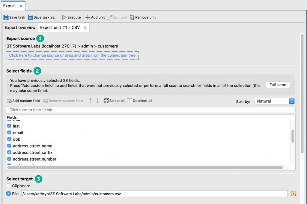 CSV configuration options in Studio 3T