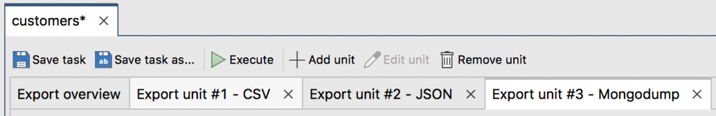 Each MongoDB export opens in a separate Export unit tab