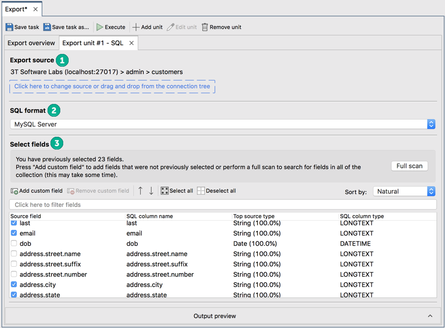 Select the fields to include in the export to SQL