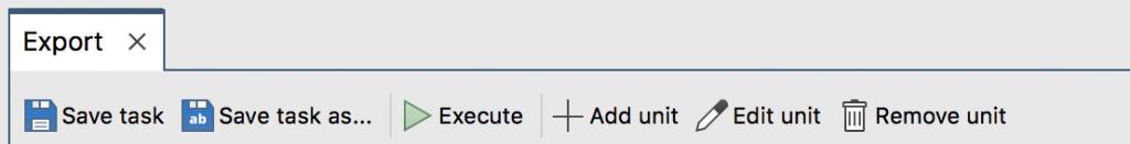 The Export Wizard toolbar