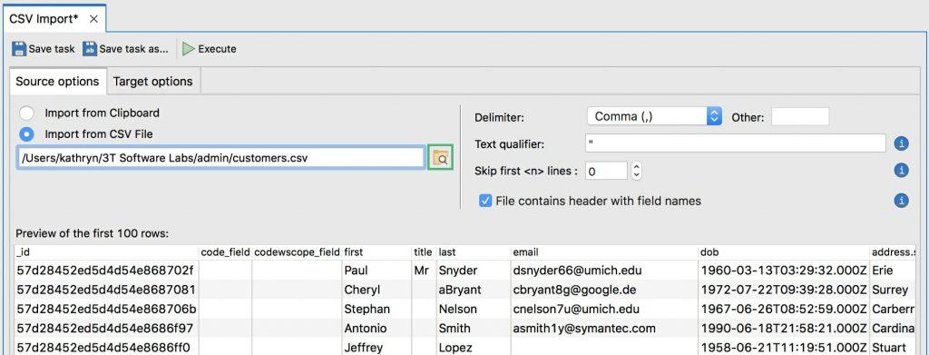 Import a CSV file to MongoDB