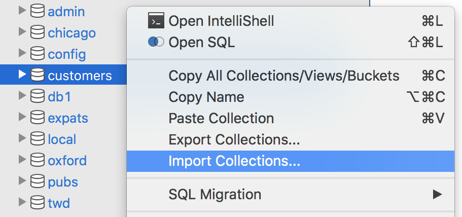 Right click on the connection tree to import MongoDB collections and data