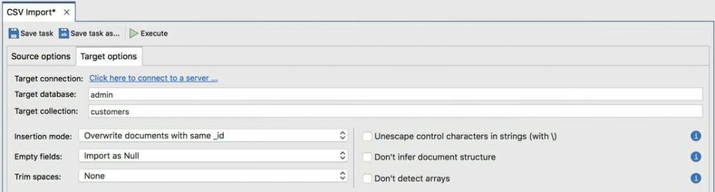 Configure MongoDB options
