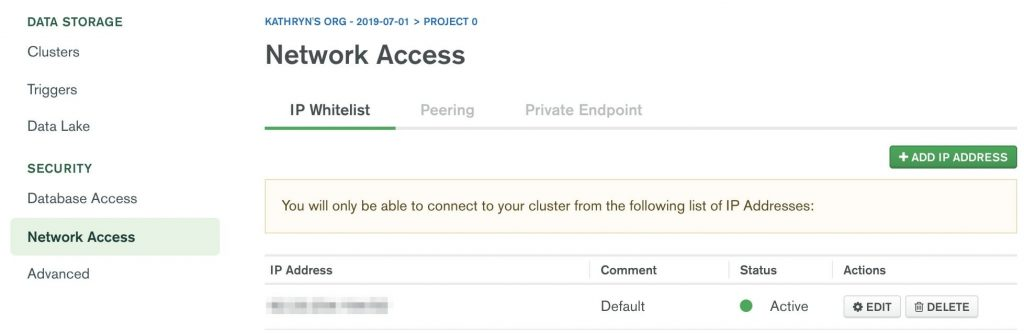 MongoDB Atlas IP whitelist tab