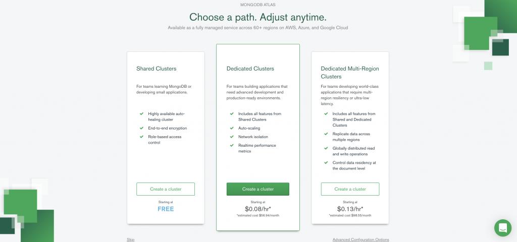 Choose a MongoDB Atlas path