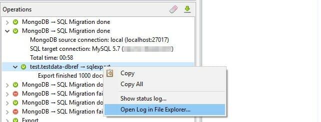 Operatios tab log files