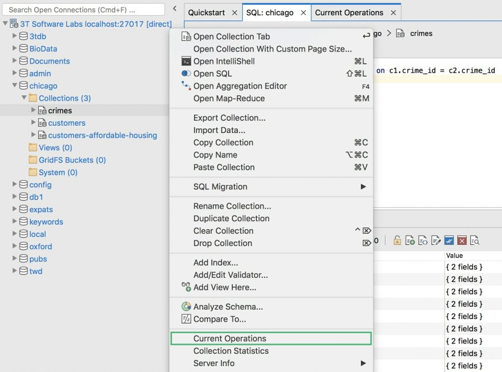 View the current operations of any MongoDB collection in Studio 3T
