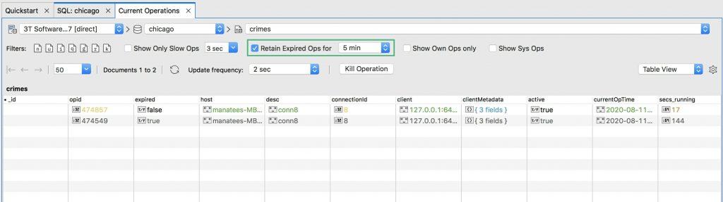 Retain expired MongoDB operations