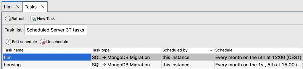 Scheduled Server 3T tasks