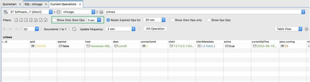 Show slow MongoDB queries