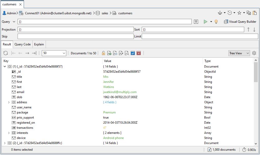 collecyion database customer