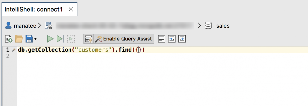 IntelliShell with auto-completion and Enable Query Assist on