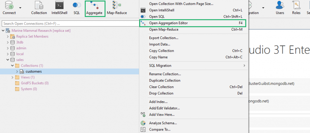 The Aggregation Editor, Studio 3T's MongoDB aggregate query builder