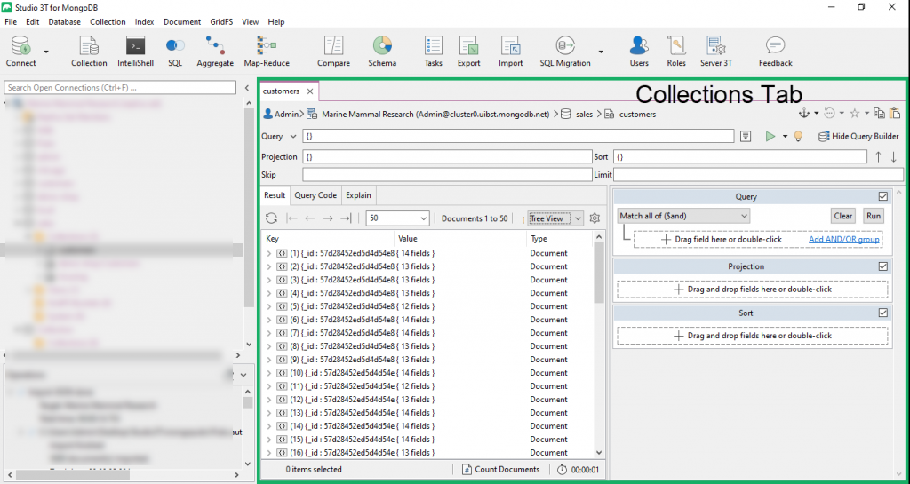 The Collections Tab houses the Visual Query Builder in Studio 3T.
