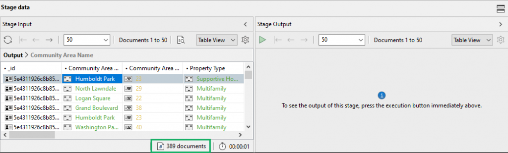 Check stage inputs with Aggregation Editor