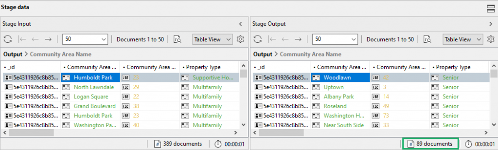 Check stage outputs with Aggregation Editor