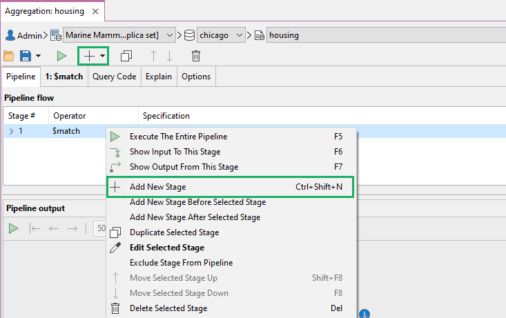 There are multiple ways to add a new stage in Aggregation Editor
