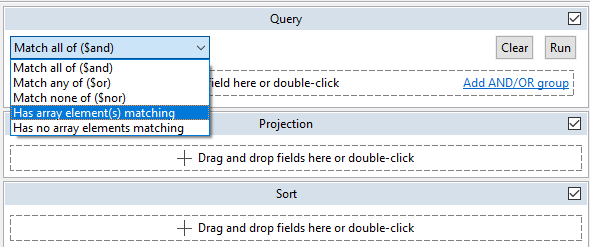Choose Has array elements matching from the dropdown