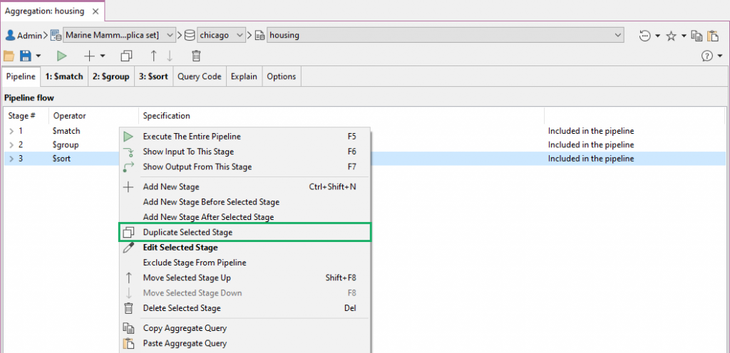 Duplicate any selected stage easily in the Aggregation Editor