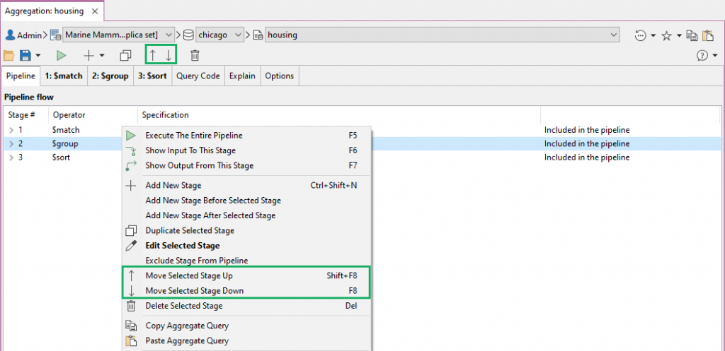 Move stages easily across the aggregation pipeline
