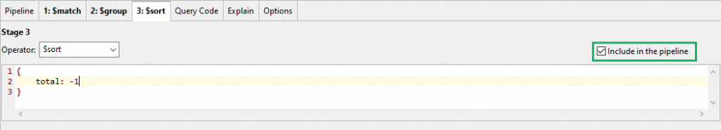 Include or exclude a stage in the aggregation pipeline