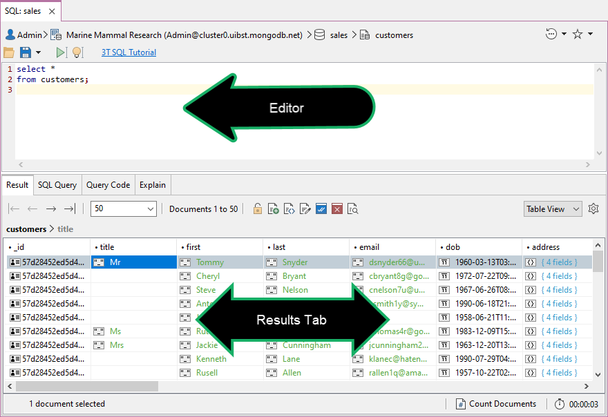 You can query MongoDB with SQL in the Editor area and view results in the Results Tab