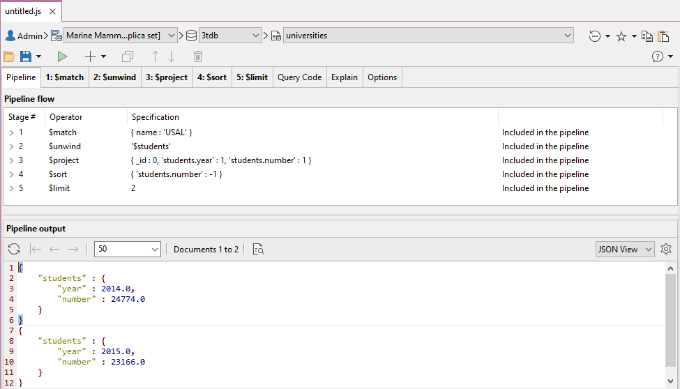 The image shows the entire aggregate pipeline and the query's results.