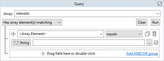 Query interest tab