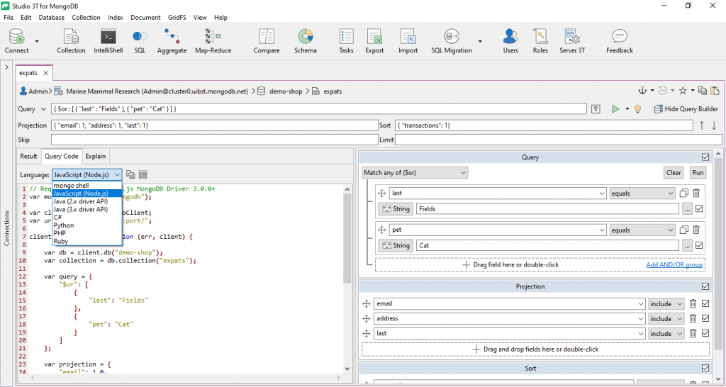 Translate your query from the mongo Shell language into: JavaScript, Java, C#, Python, and PHP.