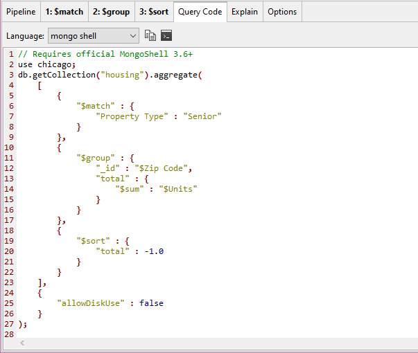 The MongoDB aggregation example in full mongo shell code